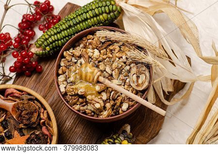 Dried Fruits In Bowl. Nuts And Dried Fruits