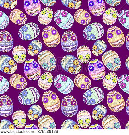 Amusing Smiling Calavera Seamless Pattern. Bold Colors Funny Cartoon Sugar Skull On Dark Purple Back