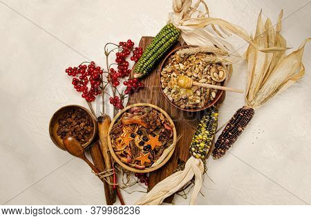 Mix Of Dried Fruits, Berries And Nuts. Dried Fruits In Bowl
