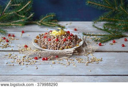 Traditional Christmas Slavs Dish Kutia On Festive Table.