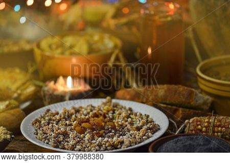 Traditional Ukrainian Christmas Compote Of Dried Fruits. Kutya With Wheat, Walnuts And Raisin