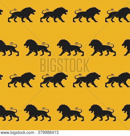 Lions Seamless Background. Silhouette Animals Texture Design. Courage, Valor And Power Symbol