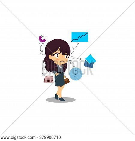 Businesswoman Multitasking And Time Management Illustration Vector