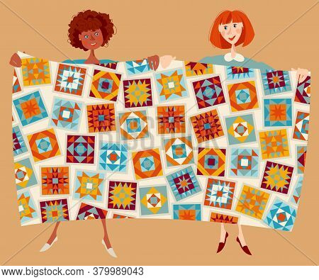 Two Women Show Multi-colored Quilt. Patchwork. Quilting. Vector Illustration.