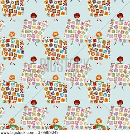 Women Hold Multi-colored Quilts. Patchwork. Quilting.  Seamless Background Pattern. Vector Illustrat