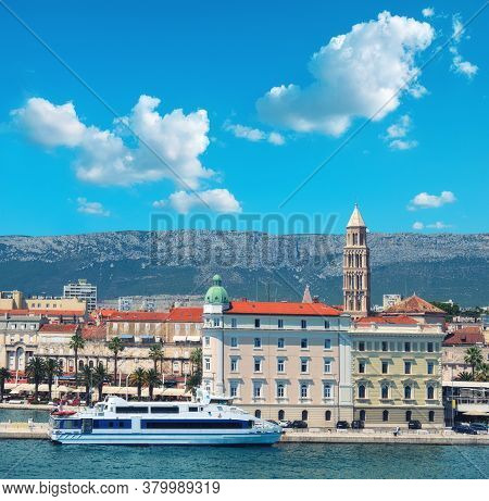 Architecture Of Split Harbor With Bell Tower Saint Dominus And Passenger Ship. Split City, Dalmatia,