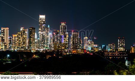 Austin Texas Nightscape Skyline With Illuminated City Lights On Rising Modern Skyscrapers Rising Up