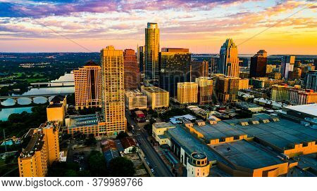 Once In A Lifetime Sunrise Golden Hour Dramatic Skyline Cityscape Aerial Drone Views Architecture Of