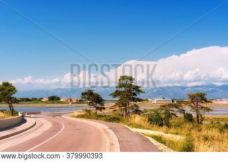 Modern Road Leading To The Bridge Via Lagoon Towards Nin In Dalmatia, Croatia