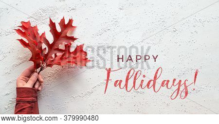 Hand Holding Twig With Vibrant Red Oak Leaves, Text Happy Fallidays. Panoramic Flat Lay On White Tex