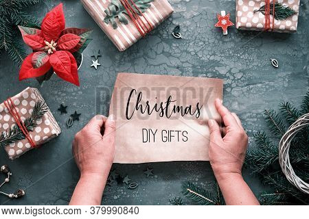 Diy Chritstmas Gifts And Handmade Decorations, Gift Boxes. Copy-space, Text Christmas Gifts On Craft