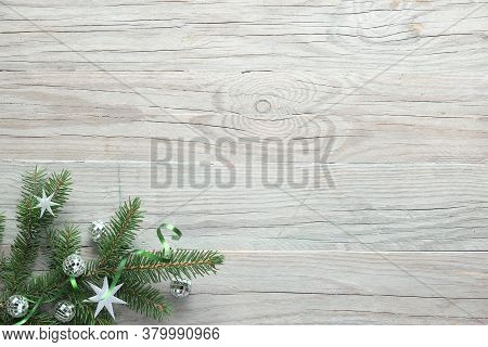 Christmas Background, Flat Lay, Corners Decorated With Fir And Decorations On Wooden Boards, Copy-sp