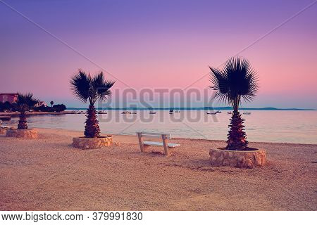 Panoramic Image Of Prezida Beach On Vir Island, Croatia, At Sunset