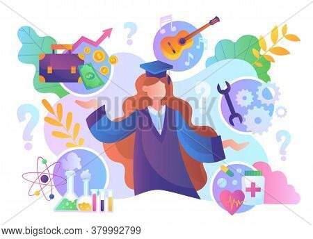 Graduation Or Career Choice Through Education Concept With A Woman In Graduation Gown And Hat Surrou
