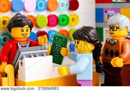 Tambov, Russian Federation - June 06, 2020 Girl Buying Lego At A Lego Store.