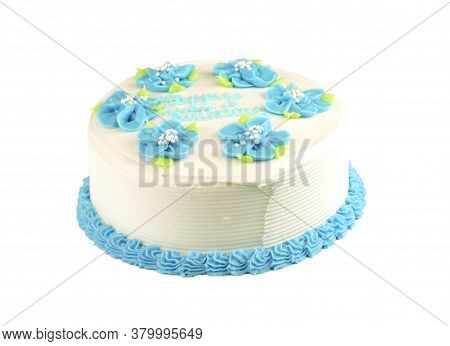 Close Up On Fresh Birthday Cake With Frosting Cream Flower