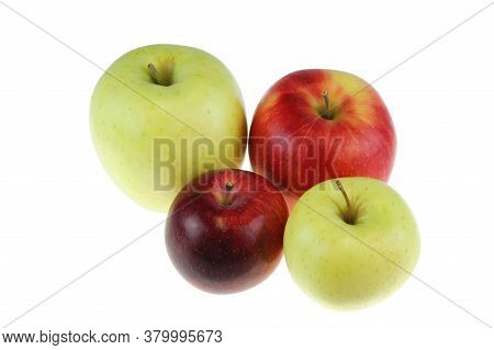 Close Up On Apples Isolated On White Background