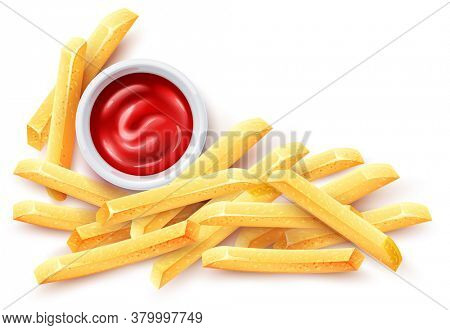 French fries and ketchup tomato sauce in ceramic cup. Roasted potato chips in deep fat fry oil potatoes. Yellow sticks. Fastfood. Unhealthy tasty food. Horizontal banner, isolated. 3D illustration.