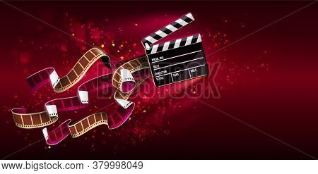 Cinema producers clapperboard for film making flying in Space with trails of stars and film-strip films. Super virtual reality online movie theater concept on red background. 3D illustration.