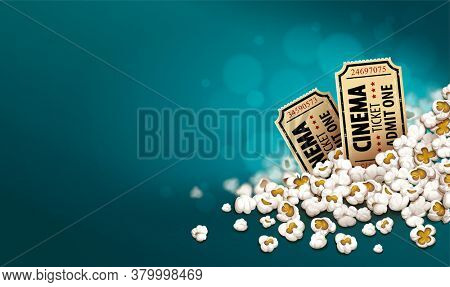 Gold cinema tickets in popcorn. Online movies banner template, poster concept, copyspacet. Container full of snacks in movie theater. Fast food for cinematography entertainment. 3D illustration.