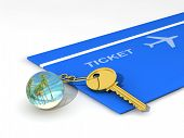 Glass key chain with key and airfare poster