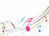 Musical waveline of musical notes with white background poster