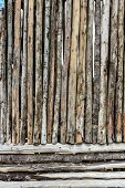 Traditional wooden rural wall from old logs poster