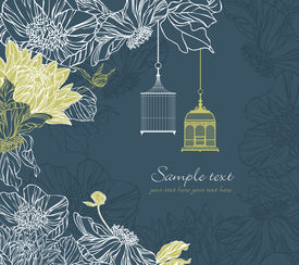 Background With Birdcage And Flowers