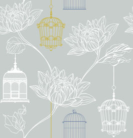 Vector Pattern Of Flowers And Birdcage