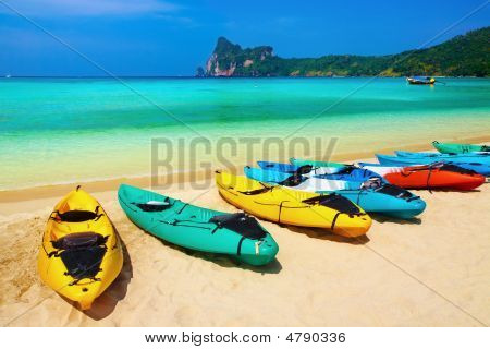Kayaks on the tropical beach Phi-Phi Don island Thailand poster