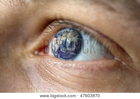 Male Face With The Earth In The Eye