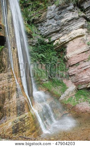 The base of the Salino Waterfall in Friuli north east Italy in the Carnia Alps (Alpi Carniche) poster