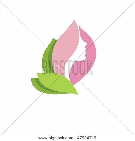 Woman beauty in blossom -vector icon
