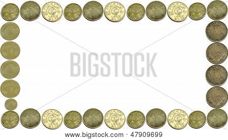 Coins currency frame Isolated With a white background poster