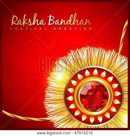 beautiful hindu festival rakhi on red background poster
