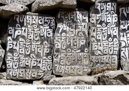 Buddhist Mani Stones With Sacred Mantras In Tengboche,Nepal,everst Region