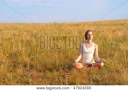 Beautiful Woman Meditate Outdoors