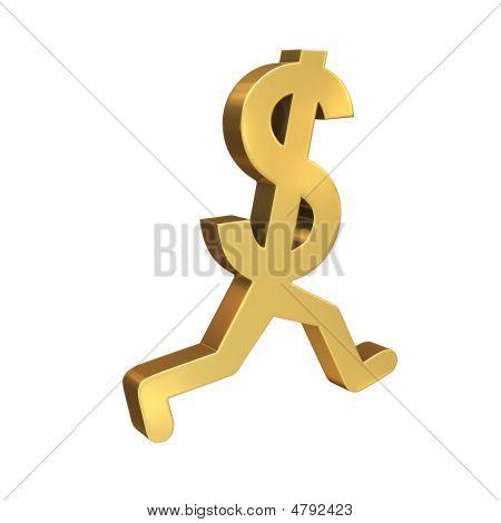 Dollar Symbol Running Past