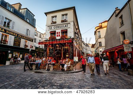 View Of Typical Paris Cafe Le Consulat On Montmartre, France
