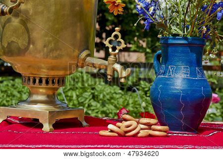 Samovar And Vase On A Summer Day