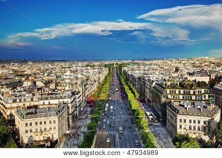 View on Avenue des Champs-Elysees from Arc de Triomphe, Paris, France
