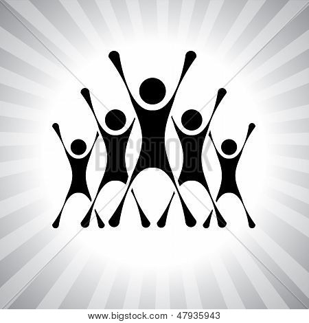 Team Of People Jumping After Victory In A Competition- Vector Graphic