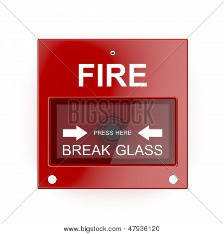 Fire alarm isolated on a white wall poster