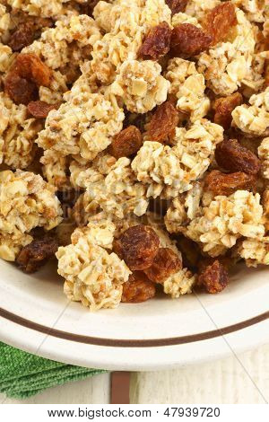 Crunchy Oat Clusters With Raisins Closeup
