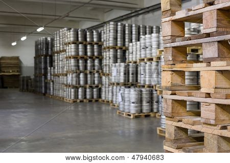 MOSCOW - OCT 16: Wooden pallets for beer kegs in stock brewery Ochakovo on Oct 16, 2012 in Moscow, Russia. Ochakovo is largest Russian company beer and soft drinks industry without foreign capital.