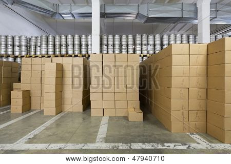 MOSCOW - OCT 16: Warehouse with beer kegs, cardboard boxes in stock brewery Ochakovo Oct 16 2012, Moscow Russia. Ochakovo is largest Russian company beer, soft drinks industry without foreign capital.