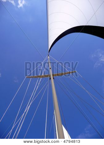 Wind In The Mainsail On A Bright Blue Sky