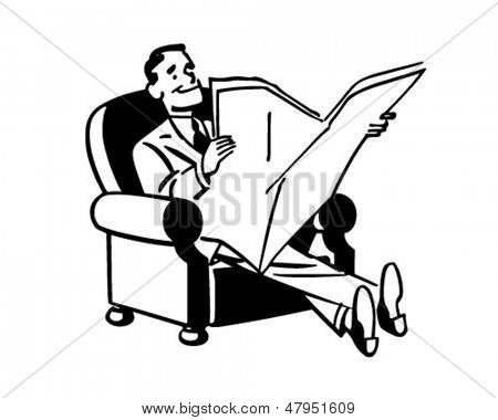 Man Relaxing With Newspaper - Retro Clip Art Illustration