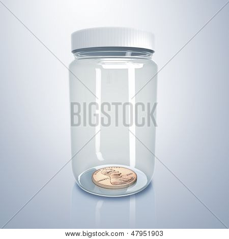 Transparent glass jar with money inside it