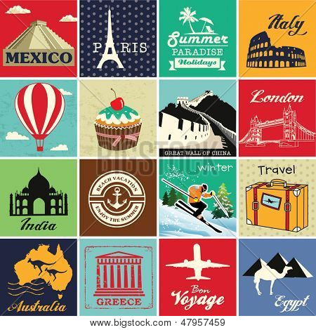 Set of vintage retro vacation and travel label cards and symbols poster